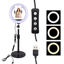 LED Selfie Ring Light Dimmable with Phone Holder for Live Streaming Video Photography JA55 led ring light tripod camera photography dimmable selfie video light with phone holder ja55