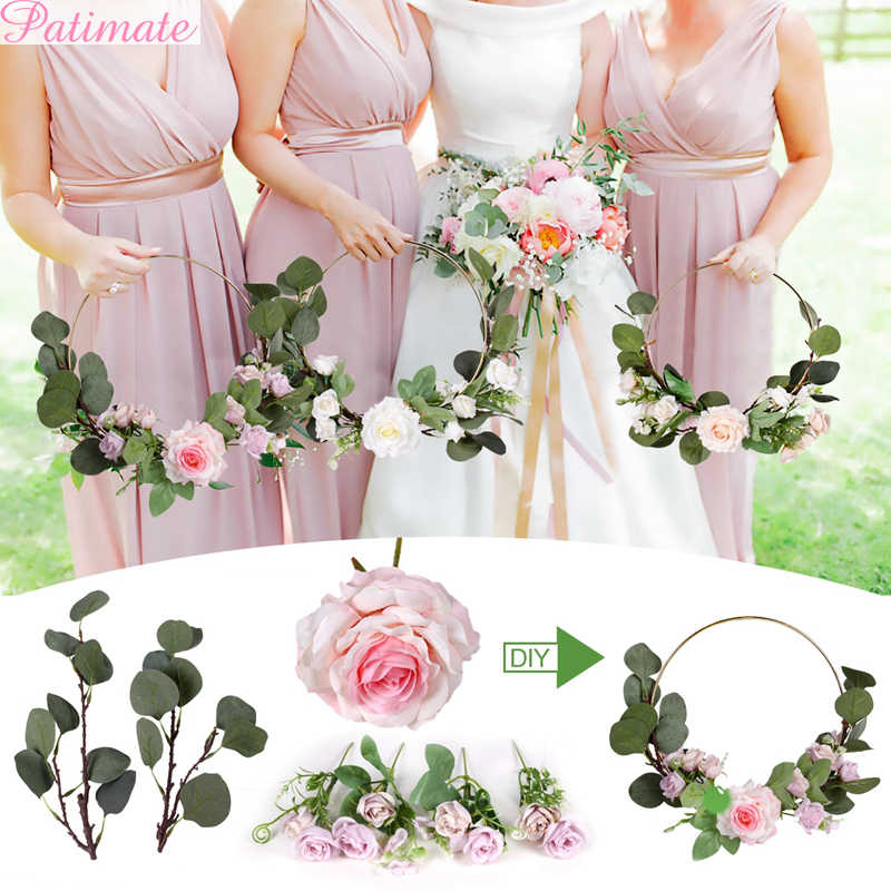 Metal Ring Wreath With Artificial Flowers Diy Bridesmaid Handheld