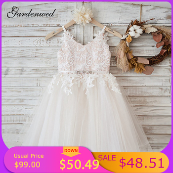 White Lace Flower Girl Dresses Vneck Sash Tulle Pageant First Communion Dresses Prom Ball Gown Princess Baby Girl Party Dresses beautiful flower girl dresses lace 2019 appliqued ball gown pageant dresses for girls first communion dresses kids prom dresses