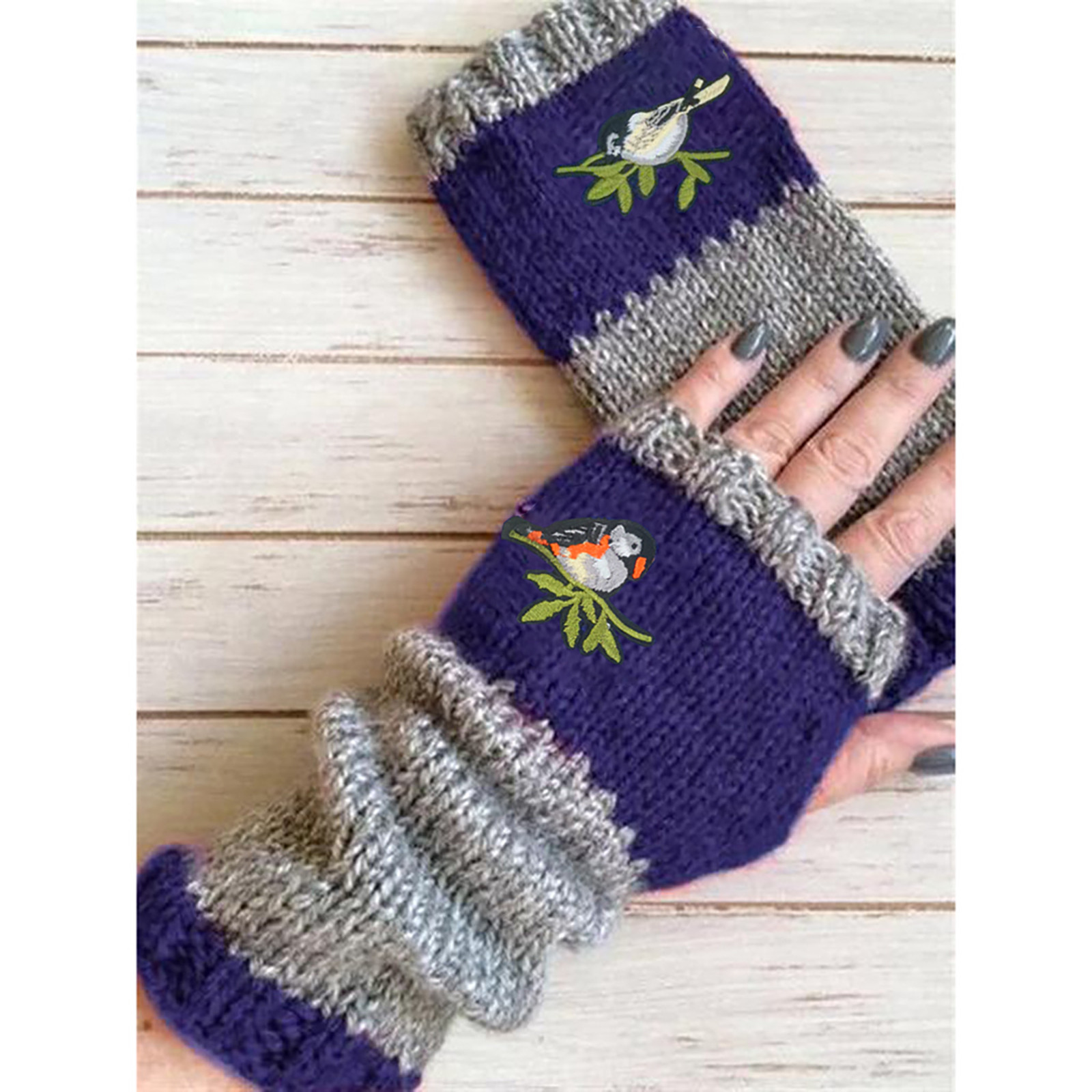 Women Fingerless Gloves Winter Knit Gloves Warm Plus Velvet Embroidere Outdoor Glove Without Fingers Printed Girls Mittens Gift