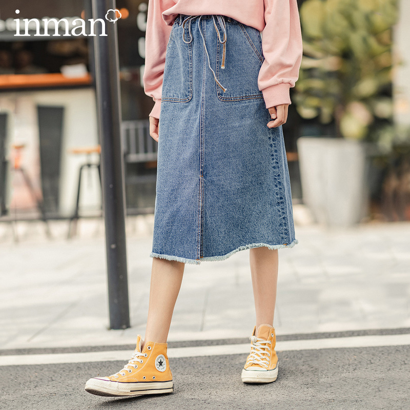 INMAN 2020 Spring New Arrival Literary Pure Cotton Lace-up Waist Front Vent A-line Denim Skirt
