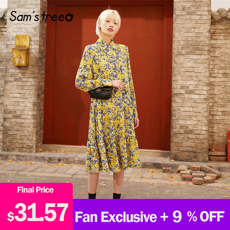 SAM'S TREE Yellow Floral A Line Vintage Chiffon Dress Women 2020 Spring New Long Sleeve Middle Waist Casual Ladies Daily Dresses
