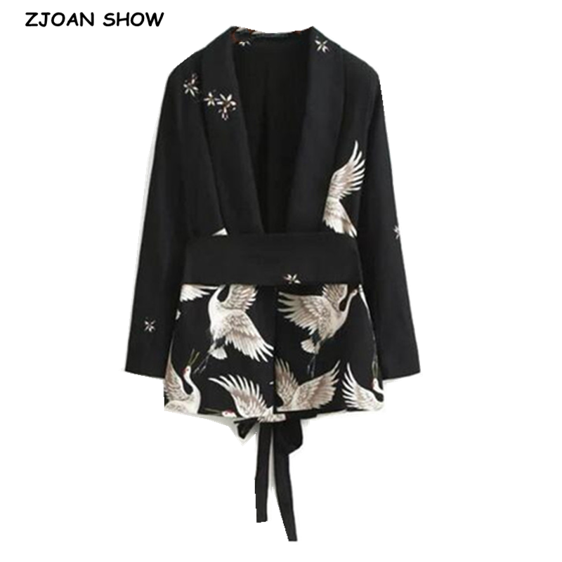 Chic Cranes print Sashes Waist Black Blazer New Woman Shawl Collar Slim fit Mid long Suit Jacket Coat Outerwear With Belt