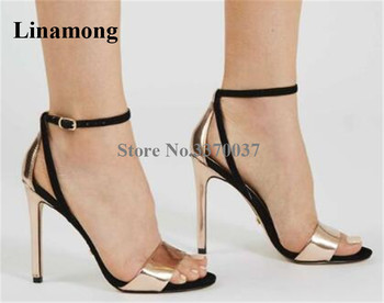 Linamong Brand Fashion Open Toe Black Gold Patchwork Stiletto Heel Sandals Ankle Strap High Heel Sandals Dress Shoes фото