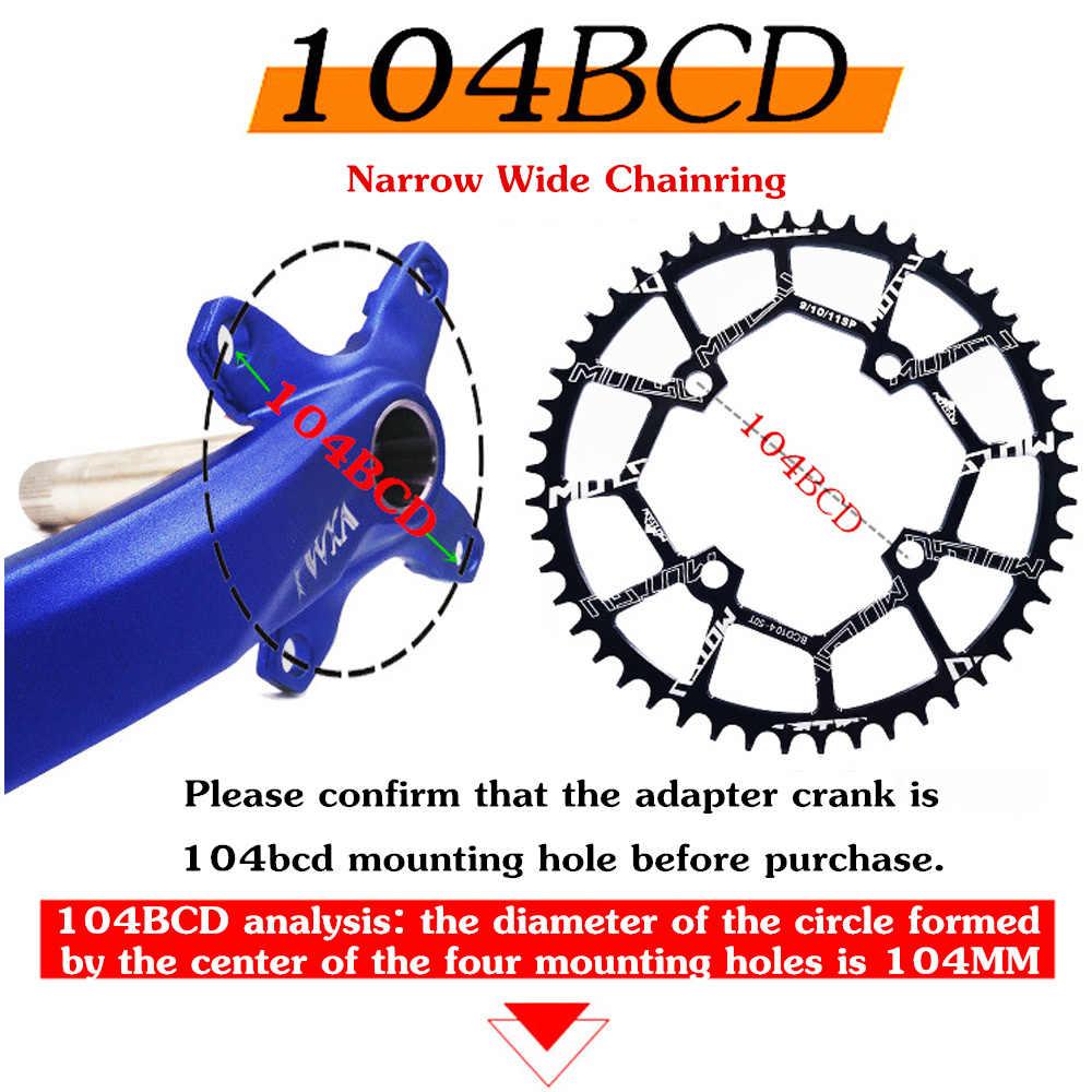 Motsuv 자전거 104mm 크랭크 라운드 체인 휠 104bcd 와이드 좁은 체인 링 32 t 34 t 36 t 38 t 40 t 42 t 44 t 46 t 48 t 50 t 52 t 크랭크 셋