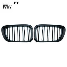 2pcs For BMW E46 2 Door 2D 3 Series 1999-2002 Car Style Gloss Black Front Kidney Double Slat Grill Grille Car-styling недорого