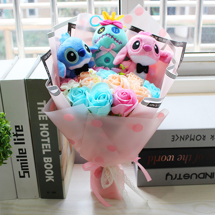 New Stitch Plush Toys With Soap Flower Cartoon Bouquets Stitch Stuffed Animal Creative Gifts For Valentine's And Birthday