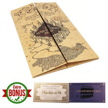 Magic Tricks Harry Map The Marauder's Map of Wizarding World Cosplay Collection Magic Prop for HP Fans with Tickets 77x22cm Map(China)