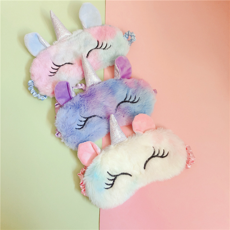 Unicorn Sleeping Mask Hot 3D Cartoon Variety Eye Mask Plush Eye Shade Cover Eyeshade Relax Mask  For Travel Home Party Gifts