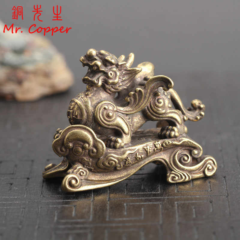 Copper Dragon Home Decoration Chinese 12 Zodiac Animal Dragon Mascot Miniatures Figurine Brass Office Desk Feng Shui Decor Craft