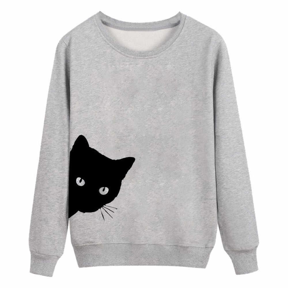 Черная футболка с котом Женская графическая печать рубашки с длинными рукавами Топ Женская с круглым вырезом теплая Базовая футболка с короткими рукавами Mujer Женская футболка