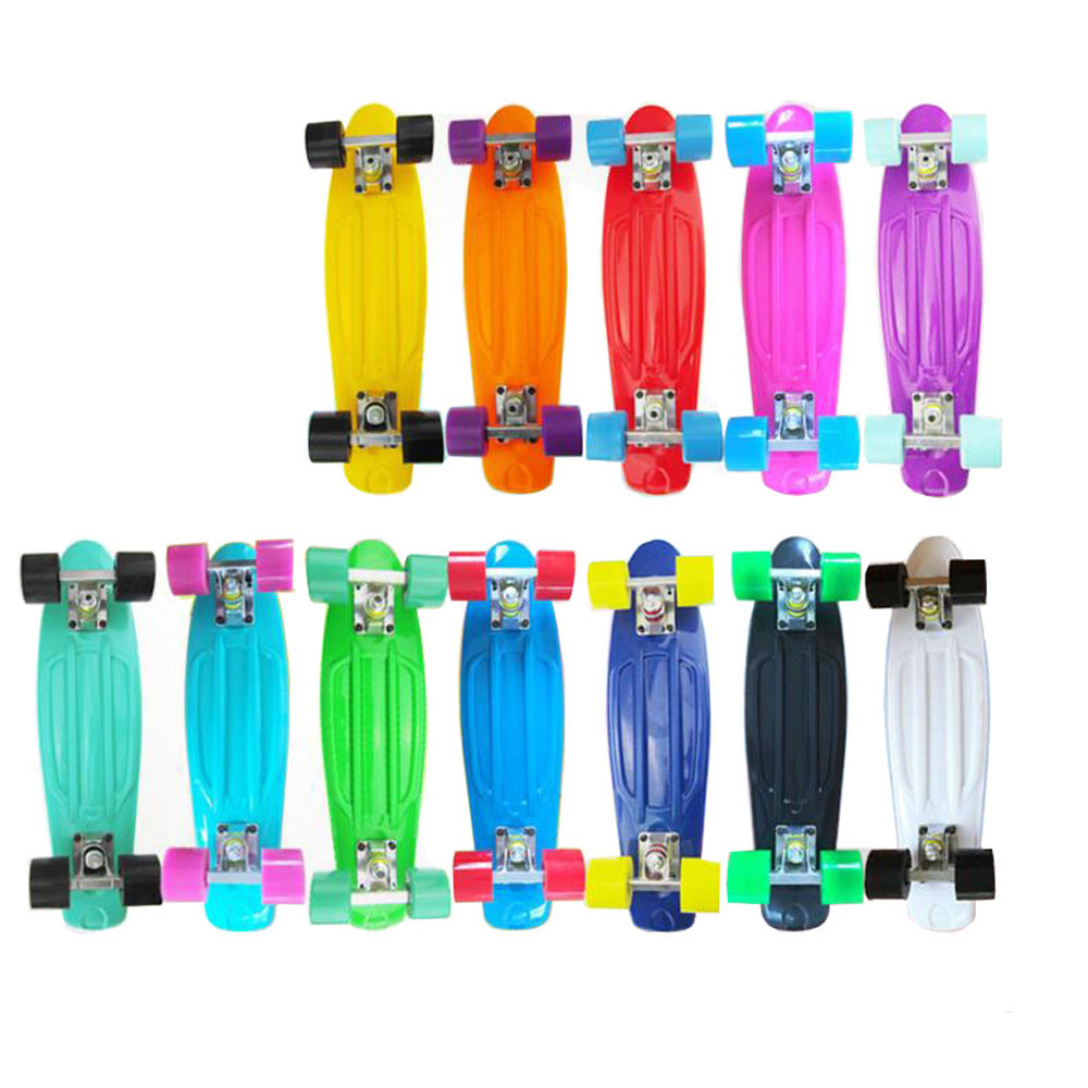 Solid Color PP Plastic Skateboards Children Toys Aluminum Truck PU Wheels Good Quality Banana Fish Shape Complete Skateboard