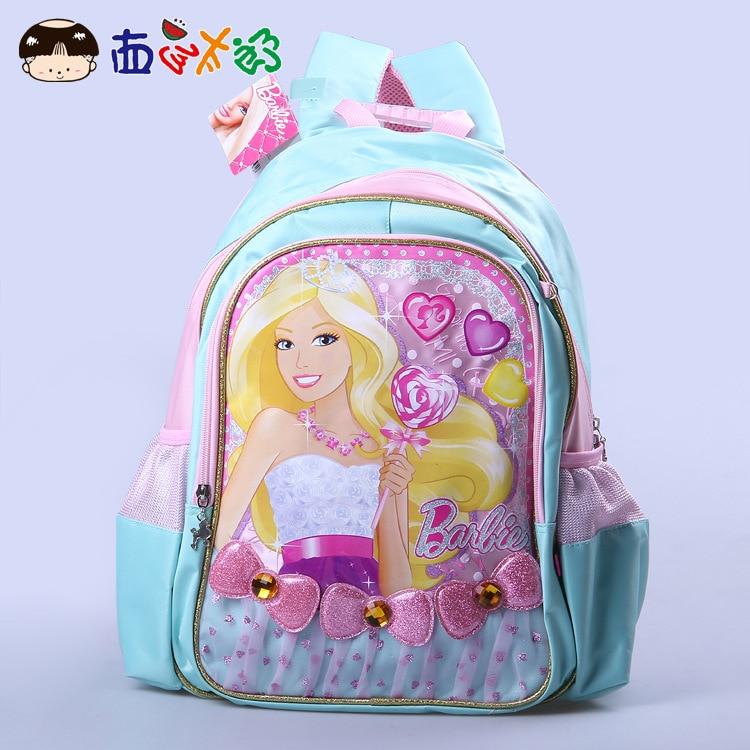 2015 New Style Cabinet Genuine Barbie Series Backpack Barbie Little Honey School Bag School Bag