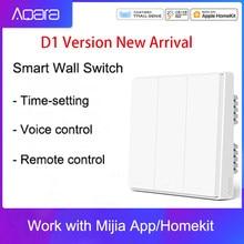 Блок управления умным домом Aqara Mijia D1, беспроводной настенный выключатель с одним пожарным проводом ZigBee, работает через приложение для смарт...