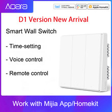 Original aqara mijia casa inteligente controle de luz d1 único fio fogo zigbee interruptor de parede chave sem fio via smartphone app