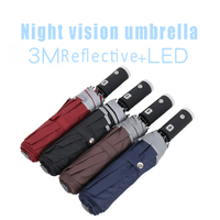 2019 Creative Automatic Folding Flashlight Night Line LED Small Umbrella Multi function Safety Fluorescent Reflective Umbrellas