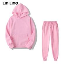 Marca sólida com capuz hoodies feminino manga comprida plus size camisolas femininas casual inverno outono pulôver puro coreano moda topos