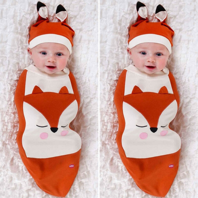 Cartoon Fox Swaddle Blanket Cute Ear Cap Cotton Orange Wrap Sleeping Bag Newborn Baby Sleepbag+Hat Set 0-6M