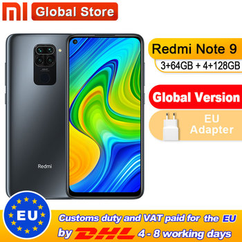 Global Version Xiaomi Redmi Note 9 3GB 64GB/4GB 128GB Smartphone MTK Helio G85 Octa Core 48MP Quad Rear Camera 6.53 1