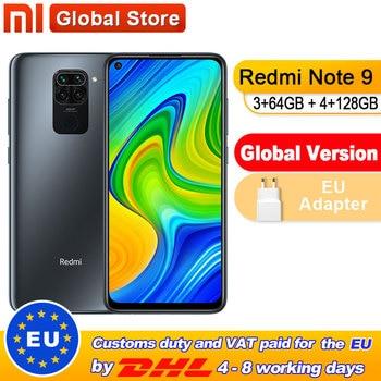 Global Version Xiaomi Redmi Note 9 3GB 64GB/4GB 128GB Smartphone MTK Helio G85 Octa Core 48MP Quad Rear Camera 6.53 1