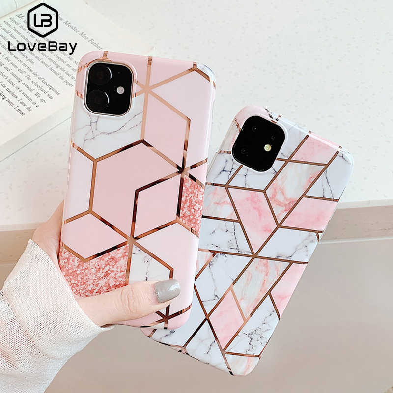 Lovebay Geometric Marble Texture Phone Cases For iPhone SE 2020 X XR XS Max 11 Pro Max Soft IMD Cover For iPhone 6 6S 7 8 Plus(China)