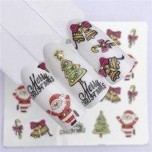Новинка, Рождественская водная наклейка, наклейки для ногтей, новогодний слайдер, тату, полное покрытие, Санта Клаус, снеговик, дизайн, рождественские наклейки