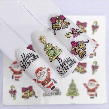 цена на 2020 New Christmas Water Decal Nail Art Nail sticker New Year Slider Tattoo Full Cover Santa Claus Snowman Designs Xmas Decals