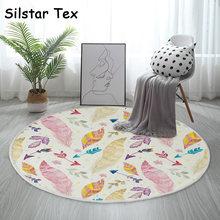 Хлопковый круглый коврик silstar tex с разноцветными перьями