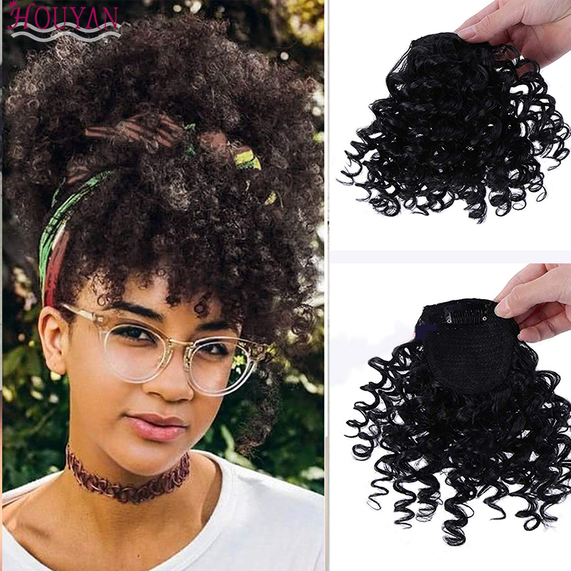 Afro Curly Fringe Clips In Bangs High Temperature Fiber Hairpieces Natural Black Synthetic Hair Extensions HOUYAN
