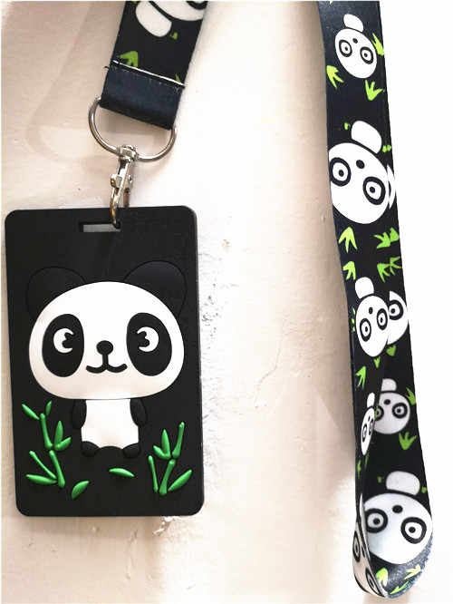 Panda Lanyard Keychain ID Holder Badge