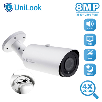 dahua h 265 ip camera ipc hfw4631f zsa built in microphone 2 7 13 5mm vf motorized lens 1080p outdoor bullet camera sd card slot UniLook 8MP Bullet POE IP Camera 4X Zoom Micro SD Card Slot Audio Output Weatherproof IR 30m Outdoor Security camera Onvif H.265