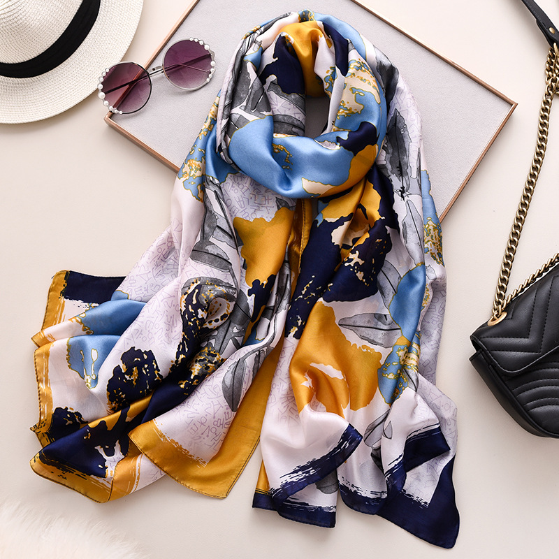 Graffiti Flower Pattern Silk Scarf Women 2020 Spring New Travel Pashmina High Quality Soomth Thin Blanket Scarf Femme Hijab New
