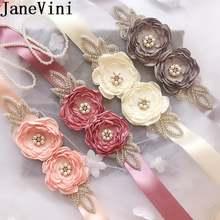 Janevini элегантный пояс ручной работы Цветы Стразы на ленте