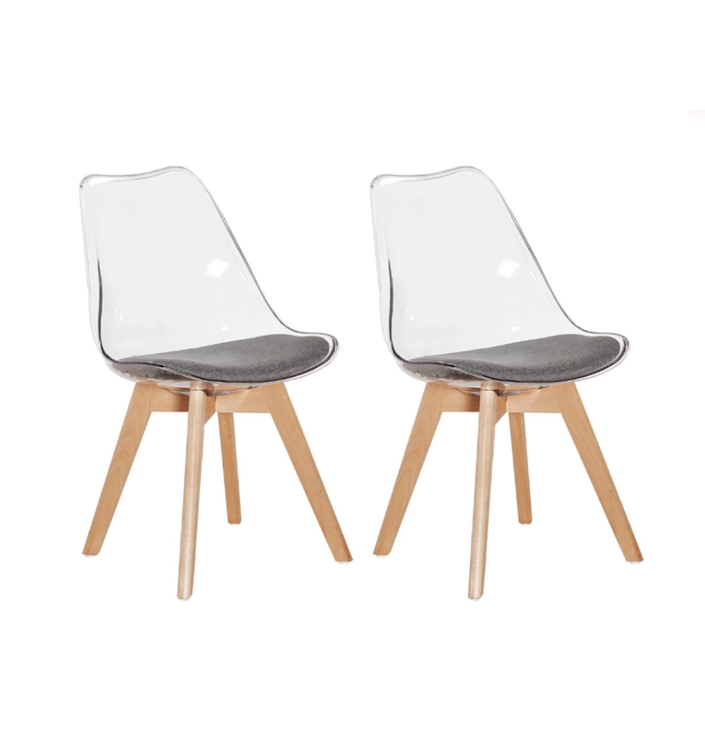 EGGREE Set Of 2pcs Tulip Padded Dining Chair With Beech Wood Legs For Dining Room - Transparent - 2-8days EU Warehouse