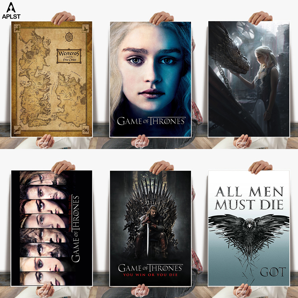 Canvas Poster Game Prints-Painting-Pictures Thrones-Map Wall-Art Classic Home-Decor Free-Cities-Characters