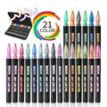 21 шт. металлическая ручка двойная линия ручка набор металлических Цвет маркер, фломастер Doubledraw Doubleline маркер контурных