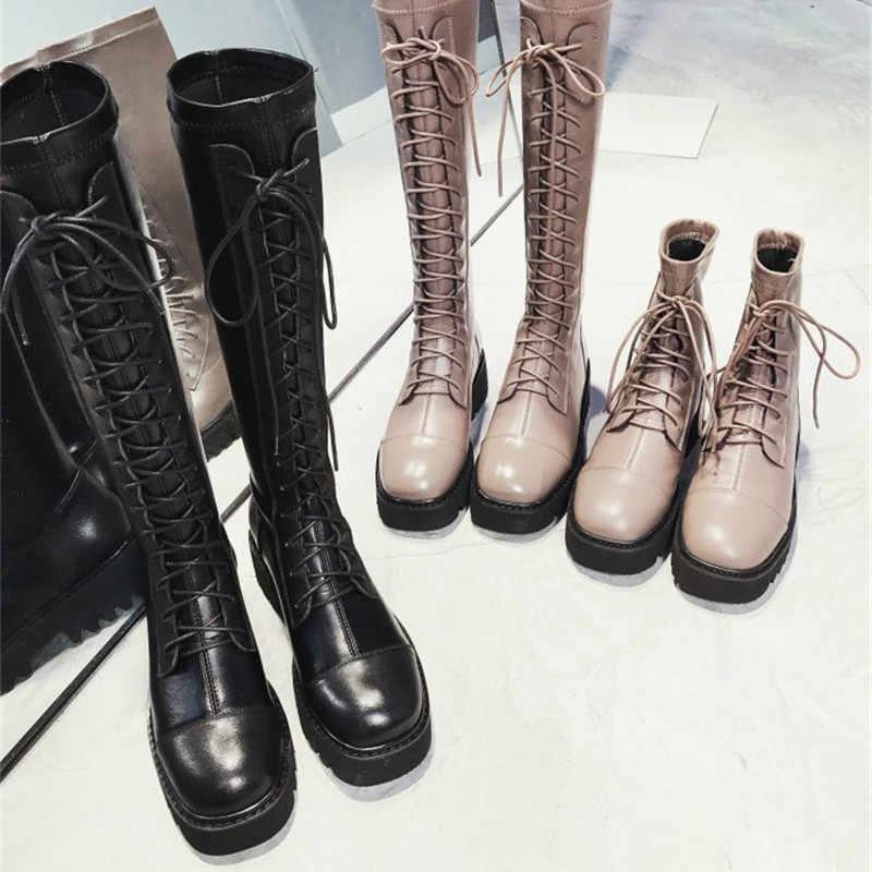 Prova Perfetto 2019 נשים הברך גובה מגפי חורף חם עבה תחתון גבירותיי מגפי פאנק צבאי Combat תחרה עד מגפיים נקבה Botas