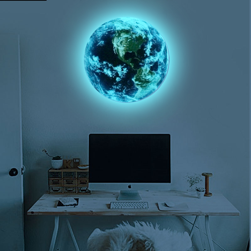 New Fluorescent blue earth Moon Cartoon DIY 3d Wall Stickers for kids rooms decoration bedroom Home decor Living Room in Wall Stickers from Home Garden