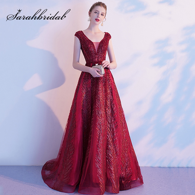 High-End Wine Red Evening Dresses 2019 Autumn/Winter Modern V-neck Noble Temperament Ladies Long Luxury Party Gown L5607