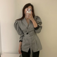 SHIJIA One Button Belted Overcoats Puff Sleeve Notched Collar Female Suit Coats Office Ladies Wear Plaid Women Blazers plus shawl collar belted plaid romper