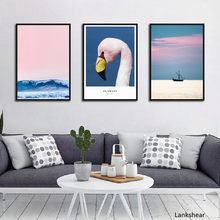 Nordic Abstract Flamingo Landscape Painting Wall Art Canvas Posters And Print Wall Pictures For Living Room Home Decoration(China)