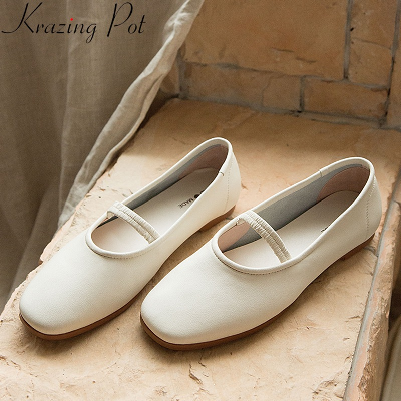 Krazing Pot 2020 genuine leather concise flats slip on square toe shallow comfortable Mary Janes lazy spring dance shoes L5f1