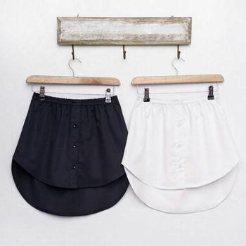 elastic waist scallop hem textured skirt new Womens A-Line Flared Curved Fake False Hem Button Down Solid Color Elastic Waist Detachable Skirt Decorative Waist Apron