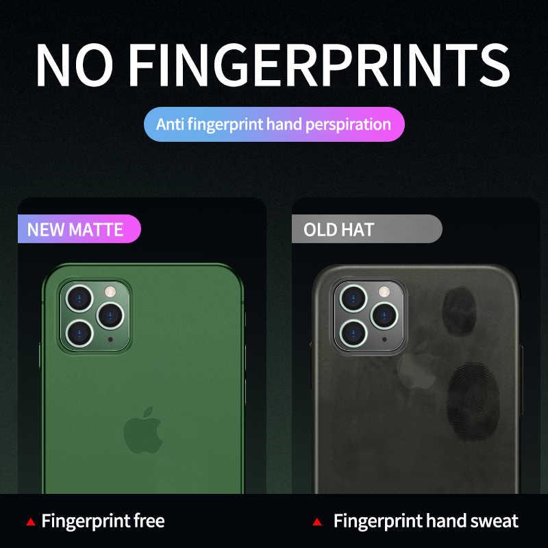 0.2mm ultra fino duro caso macio para o iphone 11 pro x xr xs max matte plástico moda volta capa para iphone 6 s 7 8 plus iphone11