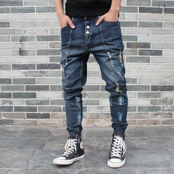 Fashion Ripped Harem Jeans Men Casual Patchwork Slim Joggers Pants Hip Hop Distressed Denim Trousers Low Crotch Man Clothing top quality 2019 fashion harem pants men ripped knee hole monkey wash washing harem hip hop overalls cargo ankle length pants