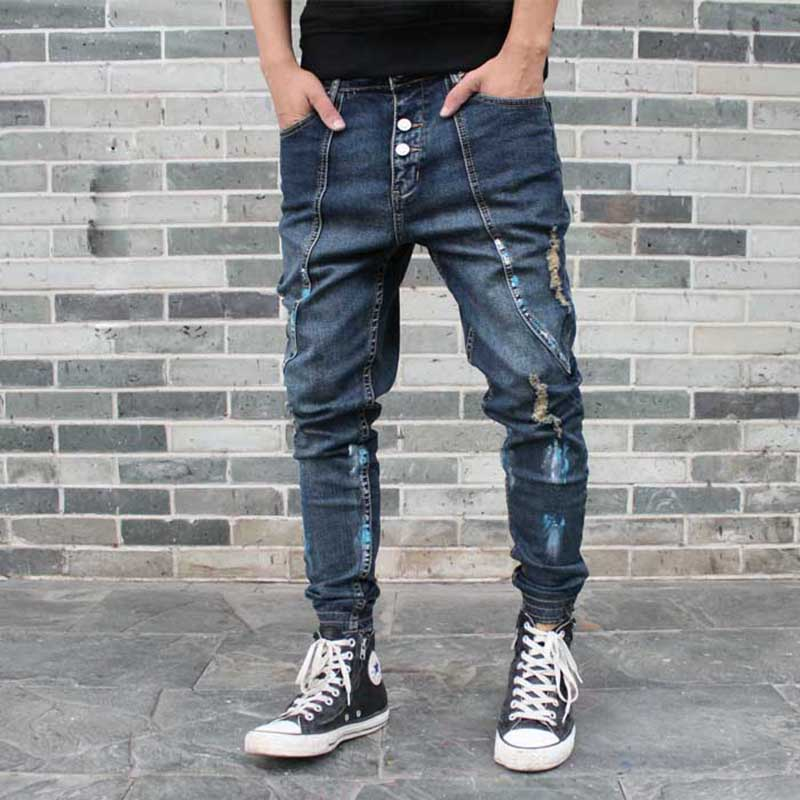 Fashion Ripped Harem Jeans Men Casual Patchwork Slim Joggers Pants Hip Hop Distressed Denim Trousers Low Crotch Man Clothing
