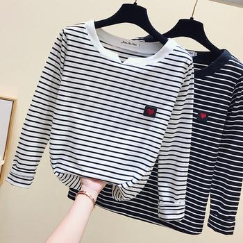 Gkfnmt Casual damska koszulka z długim rękawem w stylu koreańskim prosta wąska bawełniana koszulka Top odzież damska jesień zima T Shirt Femme tanie i dobre opinie CN (pochodzenie) Na wiosnę jesień COTTON tops Z KRÓTKIM RĘKAWEM Pełne REGULAR Z dzianiny W paski Casual tshirt WOMEN