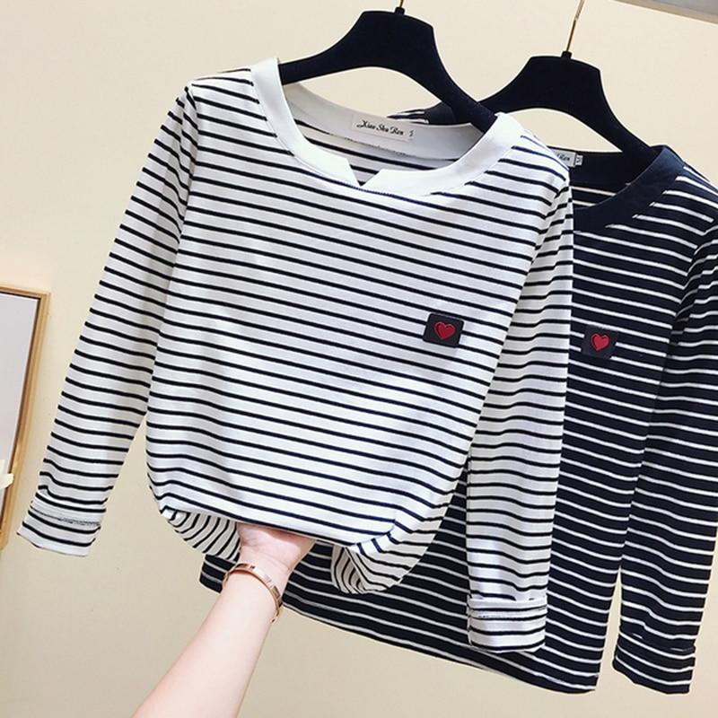 gkfnmt Casual Women T-Shirt Long Sleeve Korean Style Slim Basic Cotton Tshirt Top Womens Clothing Autumn Winter T Shirt Femme