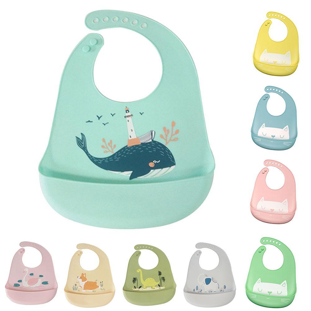 Водонепроницаемый Регулируемый нагрудник с животным принтом для малышей с карманом для кормления слюнявчик полотенце для еды аксессуар мягкий детский материал обеспечивает уход