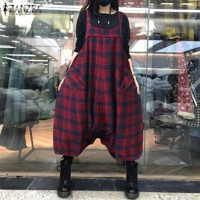 ZANZEA Summer Sleeveless Drop Crotch Overalls Women Jumpsuits Vintage Plaid Checked Rompers Baggy Loose Suspenders Lantern Pants 1
